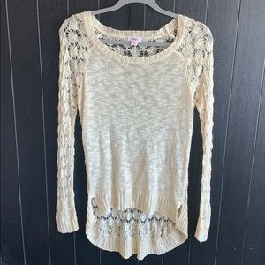 Crocheted long sweater